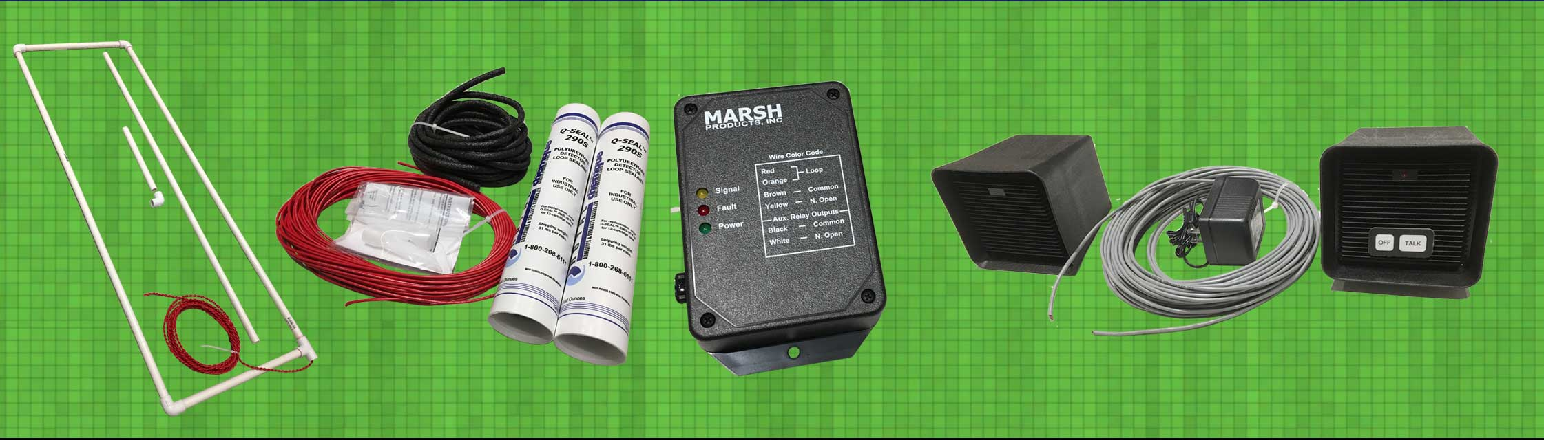 Marsh Products designs and manufactures a variety of products for the drive-thru industry. From left are our Preformed Loop, our Saw-Cut Loop Kit, our Vehicle Detector and our Alpha Audio Communication System.